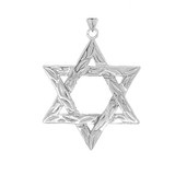 Detailed Star of David Pendant Necklace in Sterling Silver (Large)