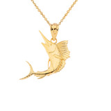 Swordfish Pendant Necklace in Gold (Yellow/ Rose/ White)