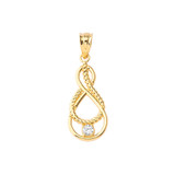 Dainty Diamond Double Infinity Knot Pendant Necklace in Gold (Yellow/Rose/White) (Large)
