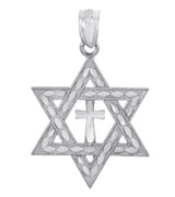 Jewish Charm Necklace- Silver Star Cross of David