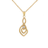 Dainty Diamond Infinity Double Heart Pendant Necklace in Gold (Yellow/Rose/White) (Large)