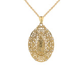 Diamond Filigree Our Lady of Guadalupe Pendant Necklace in Gold (Yellow/Rose/White)