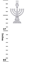 Jewish Gold Pendants - Menorah Silver Pendant