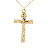 Jesus Christ INRI Crucifix Cross Pendant Necklace in Gold (Yellow/Rose/White) (Large)