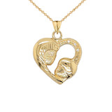 Diamond Studded Mother and Child Heart Charm Pendant Necklace in Gold (Yellow/Rose/White)