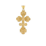 Orthodox Cross Pendant Necklace in Gold (Yellow/Rose/White)
