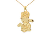 Soccer Girl Sports Charm Pendant Necklace in Gold (Yellow/Rose/White)