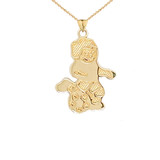 Soccer Boy Sports Charm Pendant Necklace in Gold (Yellow/Rose/White)