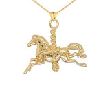 Merry Go Round Horse Pendant Necklace in Gold (Yellow/Rose/White)