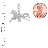 Merry Go Round Horse Pendant Necklace in Sterling Silver