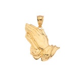 Praying hands Pendant Necklace in Gold (Yellow/Rose/White)