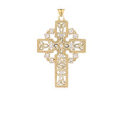 Triquetra Celtic Trinity Knot Cross Pendant Necklace in Gold (Yellow/Rose/White)
