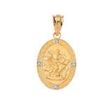Saint Mark Oval Diamond Pendant Necklace (Yellow/Rose/White)