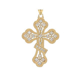 Russian Orthodox Designer Cross Pendant Necklace in Gold (Yellow/Rose/White)