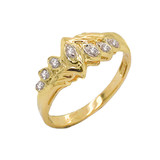Diamond 7-Stone Accent Promise Ring in Gold (Yellow/Rose/White)