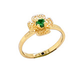 Solitaire May Birthstone Flower Ring in Gold (Yellow/Rose/White)