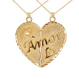 """""""Amor"""" Breakable Double-Sided Heart Pendant """"Nunca Separados, Siempre Juntos"""" in Gold(Yellow/Rose/White)"""