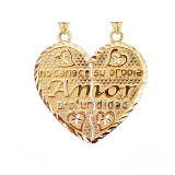 Poema de Amor Breakable Double-Sided Heart Pendant in Gold(Yellow/Rose/White)