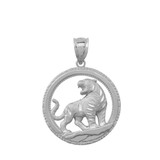 Tiger Round Pendant Necklace In sterling silver