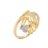 Hand holding Diamond Stones on Heart Ring in Gold (Yellow/Rose/White)