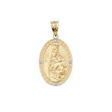 Virgen Del Carmen Diamond Pendant Necklace in Gold (Yellow/ Rose/White)