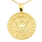 LARGE US ARMY DOUBLE-SIDED PRAYER COIN PENDANT NECKLACE in Solid Gold (Yellow/Rose/White)