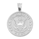 LARGE US ARMY DOUBLE-SIDED PRAYER COIN PENDANT NECKLACE in Sterling Silver