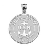LARGE U.S. NAVY INSIGNIA DOUBLE-SIDED PRAYER COIN PENDANT NECKLACE in Sterling Silver