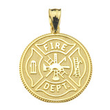 LARGE US FIREFIGHTER MALTESE CROSS DOUBLE-SIDED PRAYER COIN PENDANT NECKLACE in Solid Gold (Yellow/Rose/White)