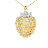 Lion The King Designer Pendant Necklace in Gold (Yellow/Rose/White)