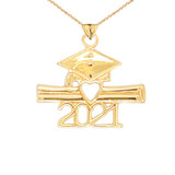 Class of 2021 Graduation Diploma & Cap Pendant Necklace in Gold (Yellow/Rose/White)