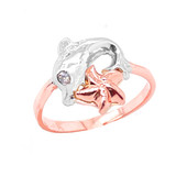Sea Life Dolphin and Star Fish Ring in Gold (Yellow/Rose/White)