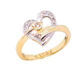 Crossed Heart Ring with Diamond in Gold (Yellow/Rose/White)