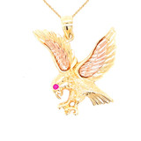 Eagle Charm Pendant Necklace in Gold (Yellow/Rose/White)