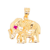 Elephant Charm Pendant Necklace in Gold (Yellow/Rose/White)