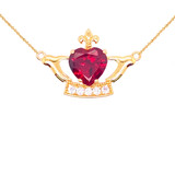 Claddagh Heart Necklace in Gold (Yellow/Rose/White)