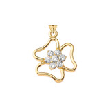 Three Leaf Clover Pendant in Gold (Yellow/Rose/White)