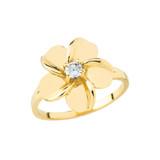 Hawaiian Plumeria Flower Ring in Gold (Yellow/Rose/White)