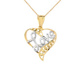 Solid-Yellow-Gold-heart-love-Pendant-Necklace