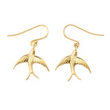 Solid-Yellow-Gold-Swallow-Tailed-Kite-Bird-Fish-hook-Earrings