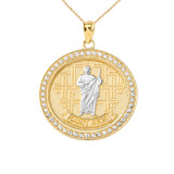 Diamond Saint Jude medallion Pendant Necklace in Gold (Yellow/Rose/White)