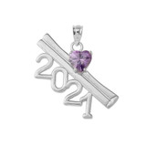 2021 Graduation Diploma with Birthstone CZ Pendant Necklace In Sterling Silver