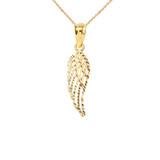 Angel Wing Cut-Out Sparkle-Cut Pendant Necklace in Gold (Yellow/Rose/White)