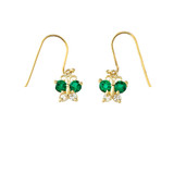 Mini Butterfly with Green Birthstone Earrings in Gold (Yellow/Rose/White)