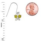 Mini Butterfly with Birthstone Earrings in Sterling Silver