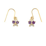 Mini Butterfly with Alexandrite Birthstone Earrings in Gold (Yellow/Rose/White)