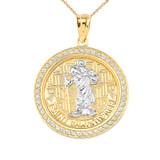 Diamond Saint Christopher medallion Pendant Necklace in Gold (Yellow/Rose/White)