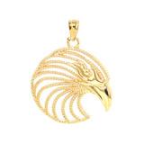 Eagle Head Pendant Necklace in Solid Gold (Yellow/Rose/White)