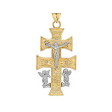 Two Tone CARAVACA DOUBLE CROSS WITH ANGELS CRUCIFIX PENDANT in Gold (Yellow/Rose/White)