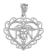Heart Registered Nurse in Sterling Silver pendant Necklace